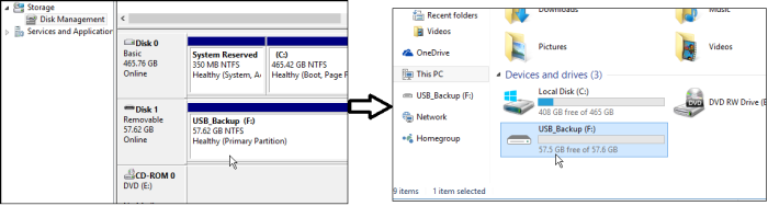 USB recognised